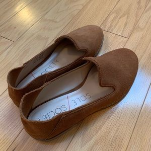 Cognac loafer mules